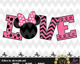 LOVE Minnie Disney svg,png,dxf,cricut,silhouette,jersey,shirt,proud,birthday,invitation,sports,cut,girl,new,decal,mickey,svg,new year 2018