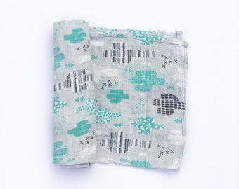 Cactus Muslin Swaddle Blanket / Baby Shower Gift / Baby Gift /Newborn Swaddle Blanket /Modern Baby Blanket /Swaddle Blanket /Organic /Unisex