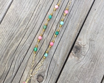 Beautiful pink agate, pink jade gold necklace