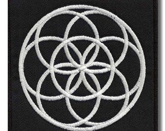 Flower of life - embroidered patch, 10x10 cm