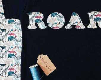 Liberty Roar T Shirt, Children's Personalised Liberty Print Name Appliqué Tee in White, Navy, Grey, Pink, Blue, Birthday Gift Baby Boy