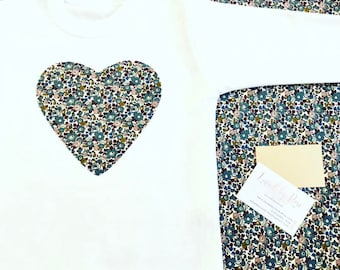 Liberty Heart T Shirt, Children's Heart T Shirt in White, Navy, Grey, Pale Pink or Pale Blue, Baby Girl Clothes, Baby Gift, First Birthday