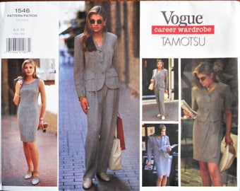 Vogue 1546.  VTG 1995 Tamotsu career wardrobe pattern. Tamotsu design wardrobe. Jacket, dress, skirt, pants, top pattern. Sizes 6-10. Uncut.