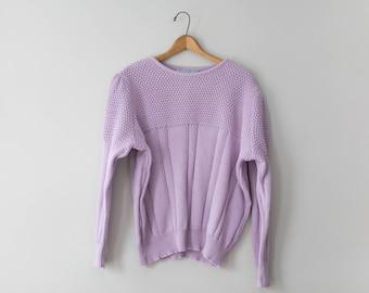 Vintage Light Purple Sweater // Super Soft Light Purple Vintage 80's Sweater // Women's Sweater Size Large // Measure Up