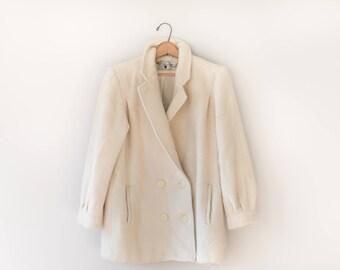 Vintage Beige 100% Wool Coat // 1960's Women's Wool Winter Coat // Size Medium // Pavilion Petite //  Made in the USA