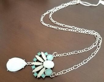 Silver Green Pendant chain