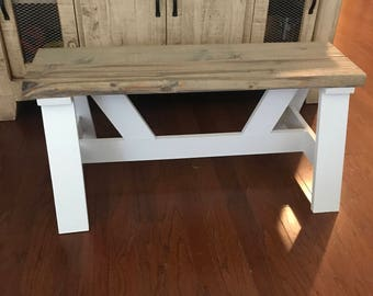 Hand crafted bench by custom carpenter