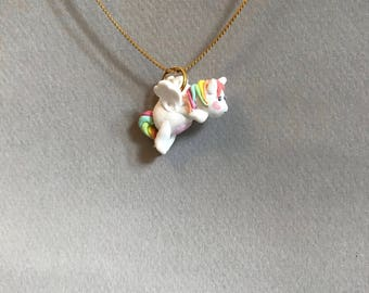 Handmade cute Kawaii Polymer clay charm or  pendant with  flying horse pegasus white, rainbow and gold