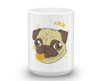 Funny Bitcoin Crypto Pug Dog Coffee Mug