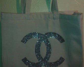 Large Silver Glittered Chanel Inspired Tote Bag
