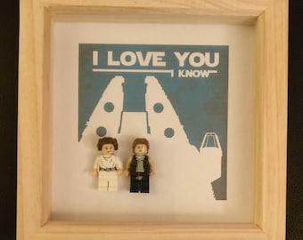 Lego Star Wars Han and Leia I love you framed art