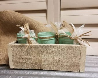 1/2 Pint mason jars on Barnwood box