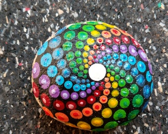 Pierre spiral Mandala Rainbow hand painted