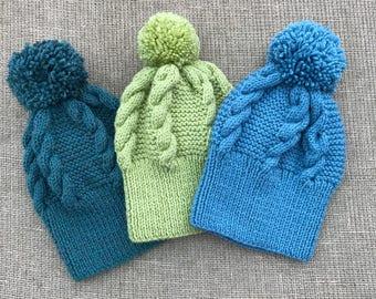 Handmade Aran wool hats-cable knit