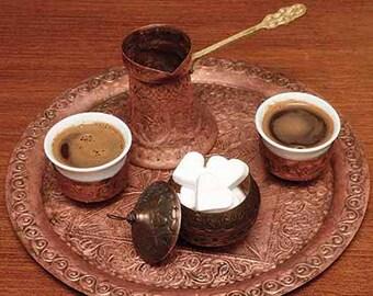 Bosnian coffee set, handmade, 100% copper