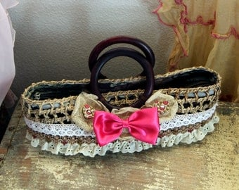 Pink Bow Country Chic Upcycled Purse Bag Wooden Handle Upcycled Embellished DIY in the USA