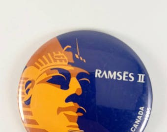 VINTAGE 1985 Ramses II exhibition in Montreal commemorative pinback button