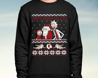 Rick and Morty - Happy Human Holiday - Black - Christmas Jumper / Sweatshirt Unisex Sweater Ugly Christmas Jumpers