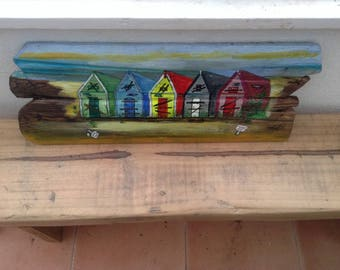 Hand Painted Beach Hut Scene on Driftwood