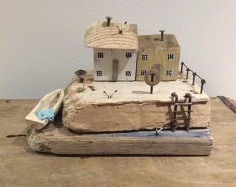 Driftwood art miniature houses handcrafted