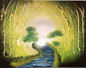 Woodlands spray painting