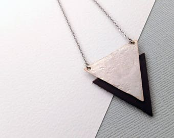 Triangle Shape, Hammered Silver Necklace with full-grain European leather - Modern edgy boho luxe geometric jewellery, artisan handcrafted