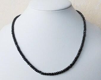 Gemstone Necklace Black Spinel Necklace 44 cm necklace 3.5 mm FAC. Beads
