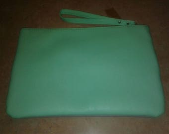 Grey, White & Lime Green Clutch Bag