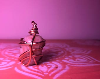 Sunstone Rose Gold Wrapped Necklace Pendant