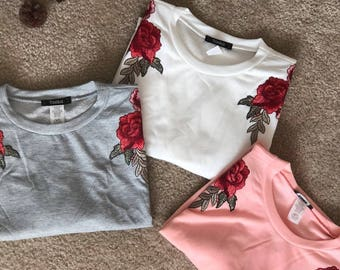 Tops With Floral Patches