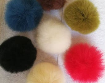2 pcs,Fur Pompom, Rabbit Fur, fur ball