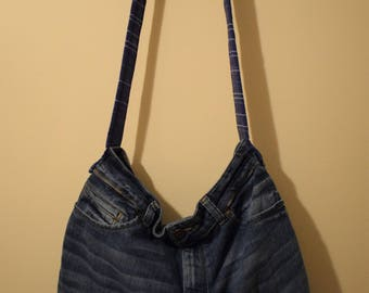 SALE: 25%off!  Retro, hippy, denim jeans bag.