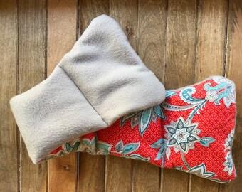 Handmade Neck Warmer Lavendar Scented - Sky Blue, Coral Floral Print - Large Microwavable - Rice & Lavender Filled