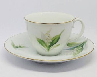 Noritake Toki Kaisha floral coffee cup and saucer, small cup, made in japan, lily of the valley design