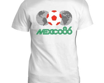 Mexico 86 Football World Cup Mascot Pique Tumblr Soccer Mens Retro T Shirt
