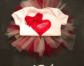 Embroidered Girl Heart Detroit Red Wings Hockey Tutu Outfit