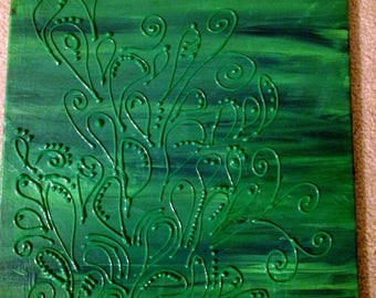 Green Teardrop On Green 16X20 Canvas