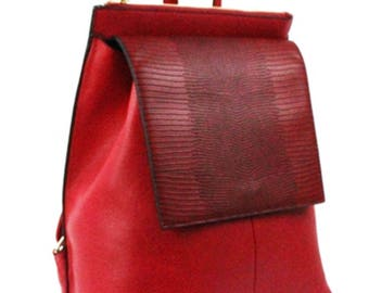Red Vegan Leather Back Pack