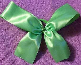 Cheer Bow, Green Hair Bow, Fancy Bow, Girls Hair Bows, Boutique bow, Satin Bow, Girls hair bow, Basic Cheer Bow, Neon Green Bow, Big Bow, 9""