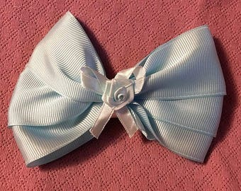 Boutique Bow, Stacked Boutique, Fancy Bow, Blue Barrette, Easter Bow,  girls barrette, layered over the top, Blue, Rose in Center, 4 1/2""