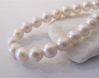 9-10mm Natural White Semi Round Freshwater Pearl Beads, Genuine Freshwater Pearls, Bridal Wedding Pearls,Natural Freshwater Pearls (PWH-088)