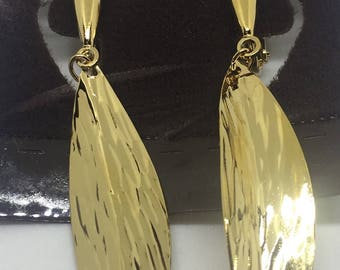 Vintage Napier Goldtone Leaf Earrings