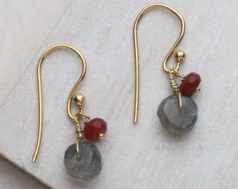 Ruby & Labradorite Earrings