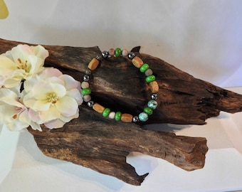 Natural Green Howlite, Hematite, Grass Flower Jasper, Green Malaysian Jade, healing gemstone stretch bracelet