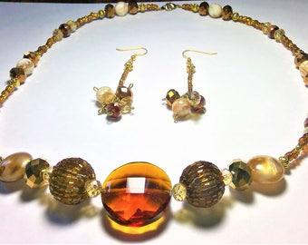 Brown, Bronze, Champagne, and Gold Color Necklace and Dangle Earring Set