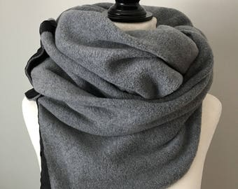 Grey Fleece Snap Scarf