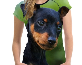 Cute dog Funny Pinscher O Neck Top Tees T Shirt Sleeves