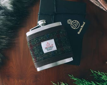 Harris Tweed Plum Hip Flask Gift Boxed 6oz, Groomsmen Gift, Whiskey Flask, Fathers Day Gift