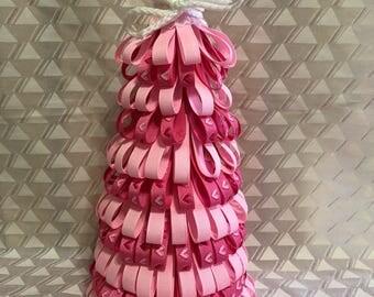 Valentine ribbon tree, valentine day decor, gift for her, pink heart ribbon tree, valentine decorating, valentine day, tree
