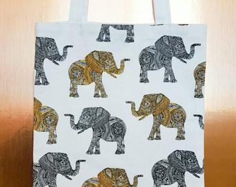 Elephant print tote bag